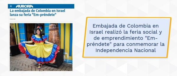 """Embajada de Colombia en Israel realizó la feria social y de emprendimiento """"Em-préndete"""" para conmemorar la Independencia Nacional"""