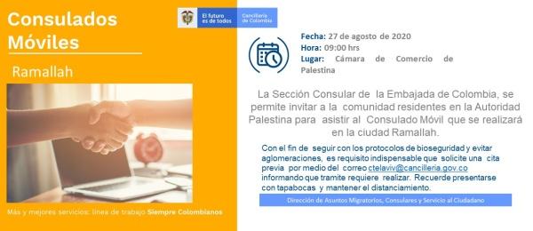 Consulado de Colombia en Tel Aviv invita al Consulado Móvil Ramallah este 27 de agosto