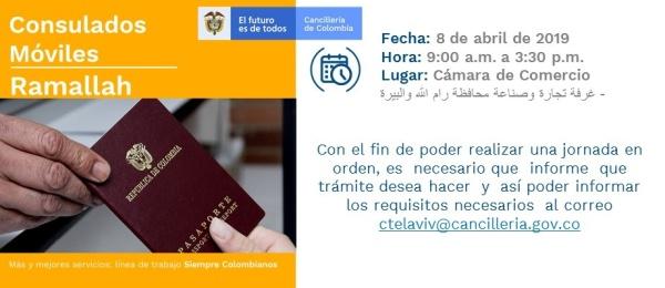Consulado de Colombia en Tel Aviv realizará la jornada de Consulado Móvil en Ramallah el lunes 8 de abril