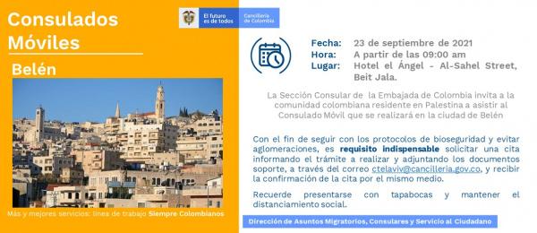 El Consulado de Colombia en Tel Aviv invita a los connacionales al Consulado Móvil que se realizará en Belén el 23 de septiembre