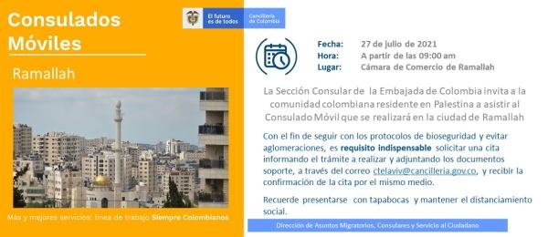 Consulado de Colombia en Tel Aviv realizará un Consulado Móvil en Ramallah, el 27 de julio de 2021