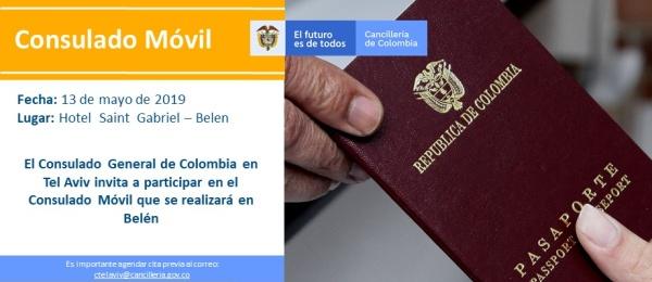 El Consulado de Colombia en Tel Aviv tendrá este lunes 13 de mayo una jornada de consulado en Belén